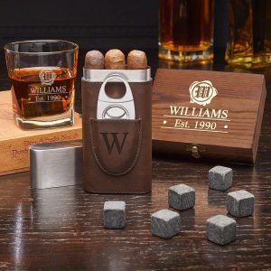 Custom whiskey gifts and cigars for husband's birthday